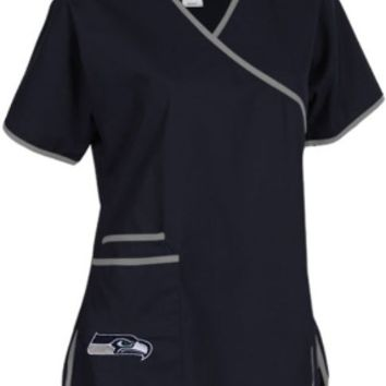 Seattle Seahawks Mock Wrap Scrub Top and NFL medical scrubs