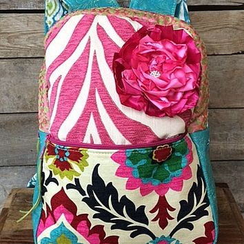 Keep It Gypsy Gertrude Backpack in Hot Pink and Turquoise