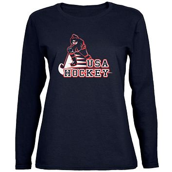 Fast Hockey Player Country USA Womens Long Sleeve T Shirt