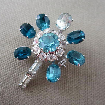 Vintage Coro Signed Teal Blue Rhinestone Flower Brooch