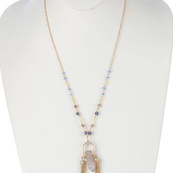 Gray Double Chain Tassel Natural Stone Pendant Necklace
