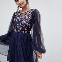 ASOS Mesh Blouson Sleeve Mini Dress with Floral Embroidered Bodice at asos.com