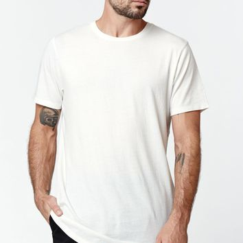 On The Byas Jesse Scallop Hem T-Shirt - Mens Tee - White