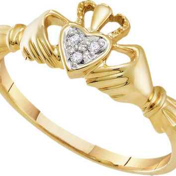10kt Yellow Gold Womens Round Diamond Dainty Claddagh Heart Ring .01 Cttw 18135