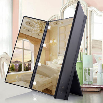 8 LEDs Lighted Makeup Mirror  3 Folding Portable Adjustable Tabletop Countertop Mirror Travel Fold Cosmetic Mirror  @ME88