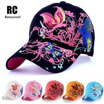 [Rancyword] High quality women's Butterflies flowers embroidery baseball cap for women Snapback caps summer RC1065