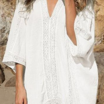 Coffee In Crete White Lace Inset Trim 3/4 Sleeve Deep V Neck Loose Mini Dress