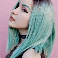 Light Green Bob Synthetic Lace Front Wig