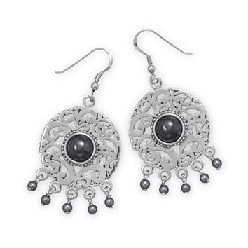 Rhodium Plated Hematite and Faux Pearl Earrings