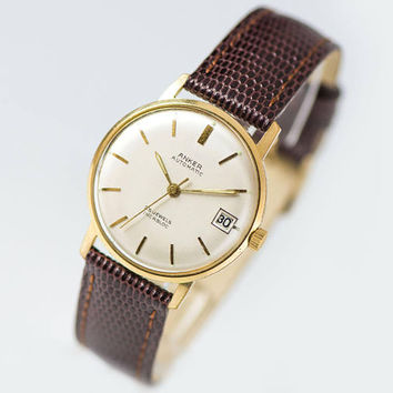 Vintage automatic unisex watch ANKER, dress watch shockproof, self winding boyfriend watch 60s, gold plated watch, premium leather strap new