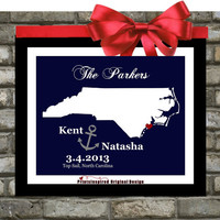 Personalized North Carolina Wedding Gift: Map Art, Any State Anchor Nautical Wedding Print Unique Couples Gift Picture Wall Art Decor Nc