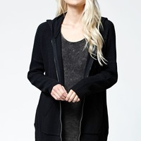 LA Hearts Oversized Ribbed Zip-Up Hoodie - Womens Sweater