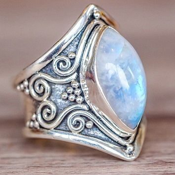 STYLEDOME Vintage Silver Big Stone Ring for Women Fashion Bohemian Boho Jewelry 2018 New Hot