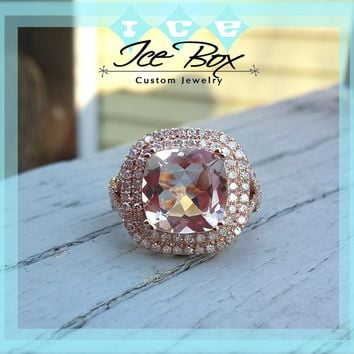 Morganite Engagement Ring - 10 x 10mm, 3.2ct Cushion Peach Pink Morganite in 14K Rose Gold Double Halo Twist Shank Setting