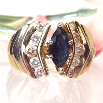 Gorgeous Marquise Blue Sapphire Diamond Ring/ 14K Yellow Gold