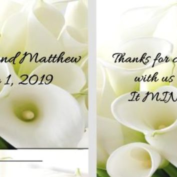 20 White Calla Lily Wedding Mint Favors
