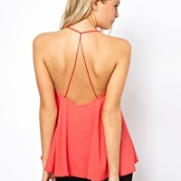 ASOS Cami With Backless Detail And Plunge Neck at asos.com