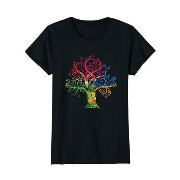Womens Colorful Life is really Good Vintage Tree Art T-Shirt