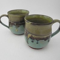 Terracotta Mug Handmade Coffee Cup, Ceramic Tea Cup, Olive Green and Turquoise