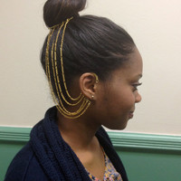 Gold Ear Cuff Hair Chain with Comb