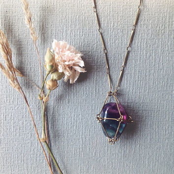 rainbow fluorite necklace - caged crystal necklace - crystal cage pendant - spiritual crystal - wiccan witch jewelry - fluorite pendant