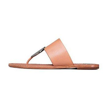 Tory Burch Patos Disk Leather Thong Snadals Natural Vachetta/silver