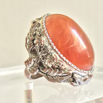 Vintage Amber and Silver Tone Cocktail Ring / Large Chunky Filigree Statement Ring / Large Unisex Rings / Orange Oval Bezel Set Gem Ring