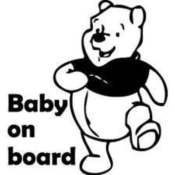 Winnie The Pooh Baby On Board Vinyl Car Decal