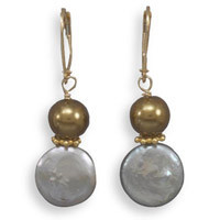 Glass Pearl and Cultured Freshwater Coin Pearl Earrings