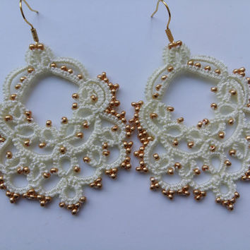 "lace earrings ""Маркиза"" Jewellery  Earrings  Chandelier Earrings  gift for her  lace jewelry  bridesmaid earrings  Lightweight earrings"