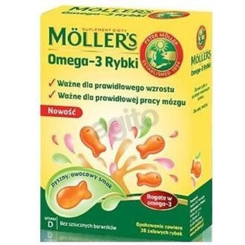 MOLLER'S OMEGA-3 FISH x 36 jellies, fish oil for kids, 3+
