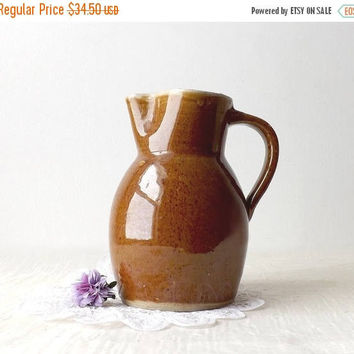 Brown Stoneware Jug, Vintage Pottery Pitcher, Primitive Farmhouse Kitchen Decor