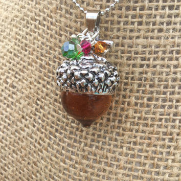 Acorn necklace-Fall acorn necklace-autumn necklace-Autumn Swarvoski Crystal-autumn color-fall colors-autumn necklace-fall jewelry-gift ideas