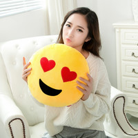 Soft Emoji Smiley Emoticon Round Cushion Cartoon QQ Expression Pillows 30x30cm Stuff Plush Cushion DA