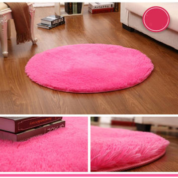 Fluffy Round Area Rug Shaggy Home Floor  Living Room Bedroom Carpet NEW