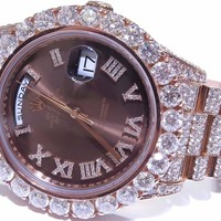 Rolex 41mm 18k Rose Gold DayDate II Chocolate Roman 27ct Fully Iced Out 218235