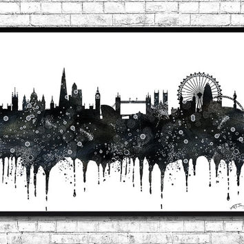 London Watercolor Print Black City Skyline Pos