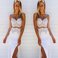 White Two Piece Lace Stitch Dress
