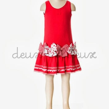 Deux Par Deux Girls La Cerise sur Le Gateau Red Jersey Dress