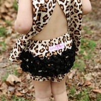 RuffleButts Infant Girls Leopard Animal Print Ruffled Bloomer