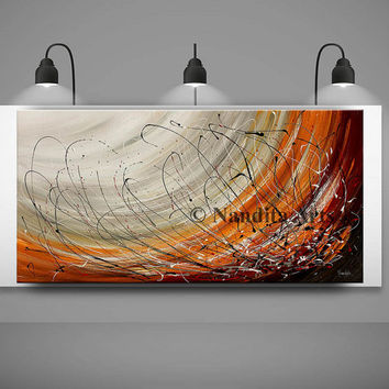 Large Wall Art ABSTRACT PAINTING Acrylic Wall Decor Red Landscape Abstract Canvas Painting Contemporary Art Home Decor, Wall Hanging Artwork