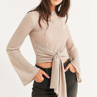 UO Tie-Front Bell Sleeve Top   Urban Outfitters