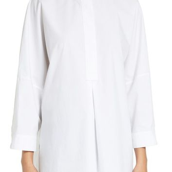 T by Alexander Wang Mandarin Collar Cotton Poplin Tunic | Nordstrom