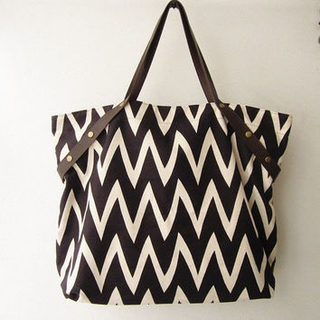 canvas tote bag chevron,weekender bag ,beach tote bag, travel bag ,shopping shoulder bag  with leather handles