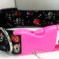 Skulls and Roses Dog Collar - SIZE LARGE