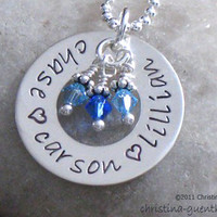Circle of Love - personalized name necklace, hand stamped jewelry, children names, gift for wife