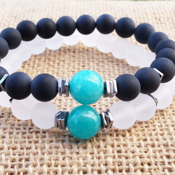 COUPLES Aquamarine Bracelet Couples Gifts Black Onyx White Quartz Gifts For Her Gifts For Him Matching Couples Bracelet Hematite Bracelet
