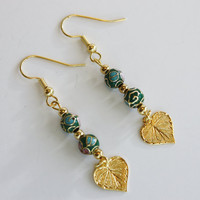 Cloisonne beaded Earrings / French Wire / Handmade Earrings / Fashion Jewelry/ Green/ Pink/ Gold