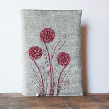 Bible cover Book Journal cover Grey fabric fiber art pink mouve floral