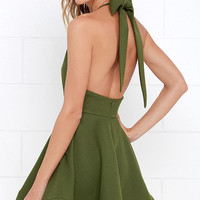 Bow is Me Green Halter Dress